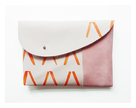 MIXED CLUTCH / ivory pink orange