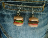 polymer clay hamburger earrings