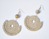 Crochet earrings beaded beige  - Hot cappuccino -OOAK - handmade finished products - pale brown beige