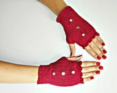 Crochet gloves, burgundy red, Valentine's Day gift, bright buttons, handmade, gift for her, accessories, womens, Fingerless Gloves, romantic