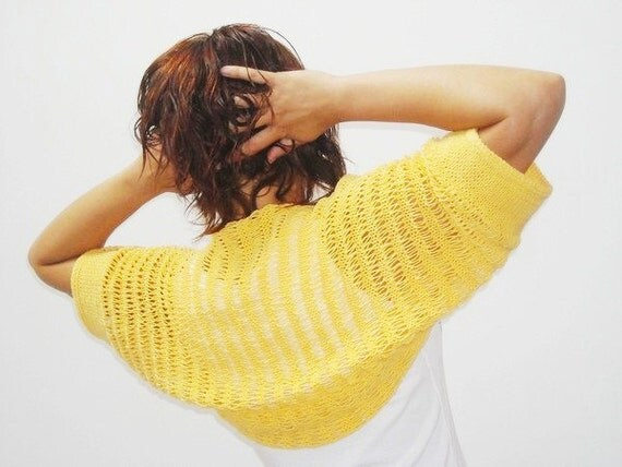 Hand knitted shrug, short sleeved, yellow cotton, size M L