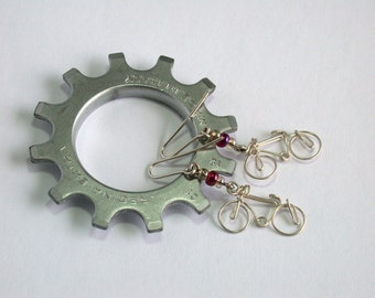 bicycle earrings silver filled wire and glass beads