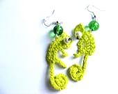 Chameleons crochet earrings orginal design
