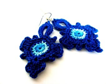 Crochet romantic cobalt earrings.