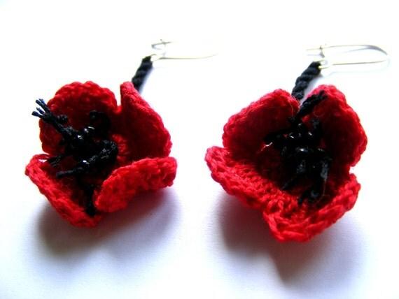 Poppy flowers - crochet earrings-orginal design