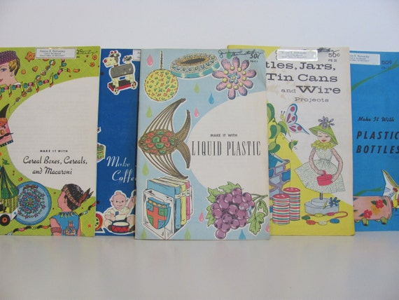 "A Collection Of Vintage ""Make It With"" Crafting Books For Children"