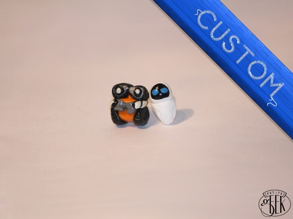 Custom - Pixar Wall-E inspired earrings - Walle-E and Eve