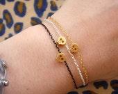 Tiny Skull Bracelet - Matte Gold Skull Bracelet with Mint Pendant