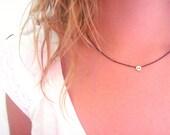 Tiny Skull Necklace - Matte Gold Skull Charm Necklace - Black Necklace - Black Chain Necklace with Bead Pendant