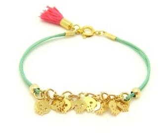 Tiny Skull Bracelet - Pastel Mint Leather W/ Tiny Gold Plated Skulls - Pink Tassel - Leather Bracelet - Boho Bracelet