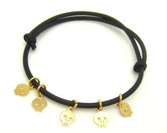 Tiny Skull Bracelet - Black Rubber Bracelet - Minimalist Bracelet - Gold Skull Bracelet - Neon Pink Skull Bracelet - Gift For Her Under 10