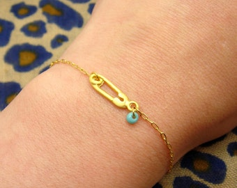 Safety Pin Bracelet - Matte Gold Safety Pin Necklace - Shower Gift - Turquoise Drop Bead Pendant