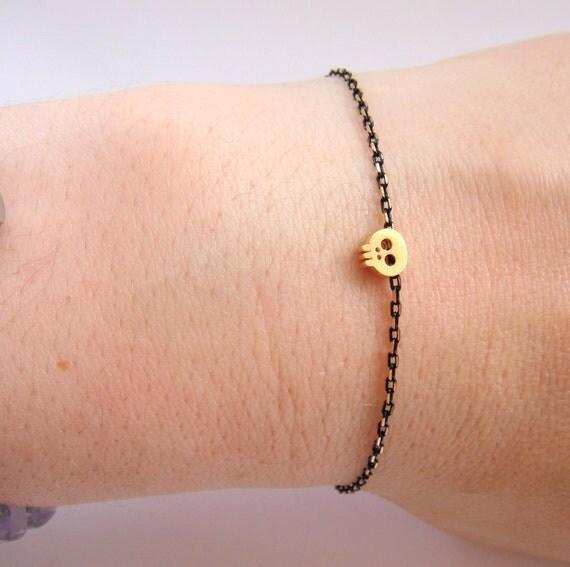 Tiny Skull Bracelet - Black Skull Bracelet - Matte Gold Skull Bracelet - Minimalist Jewelry