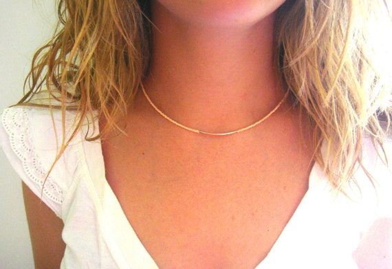 Nude Beaded Necklace - Coral Curved Bar Necklace - Minimalist Necklace - Gold Bar Necklace - Seed Bead Necklace - Silver Bar Necklace