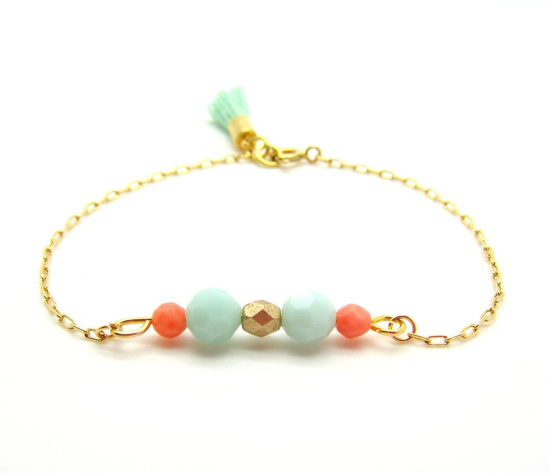 mint and coral beaded bracelet pastel swarovski bracelet