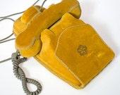 Vintage Retro 1950s 1960s French PARIS Gold VELVET covered 3 way telephone, Parisian cool, Brigitte Bardot