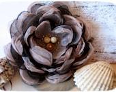 Brown fabric flower brooch, flower for sash, shabby chic wedding sash, bridal floral sash