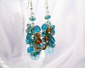 Blue crystal dangle earrings, crystal cluster earrings, something blue, bridal jewelry, Swarovski crystal earrings