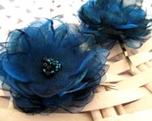 Blue fabric flowers bridal bobby pins, bridal hair accessories, bridesmaids accessories, something blue