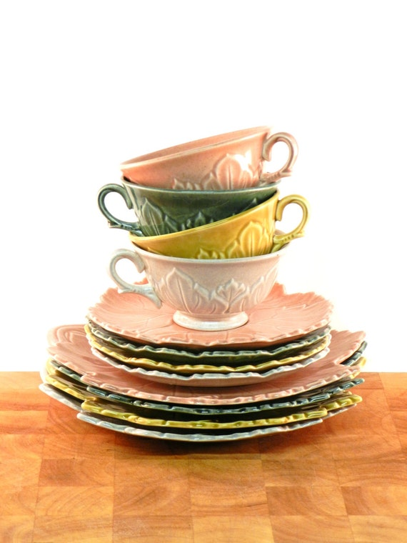 Vintage Teacups, Saucers, and dessert Plates Woodfield by Steubenville Pottery