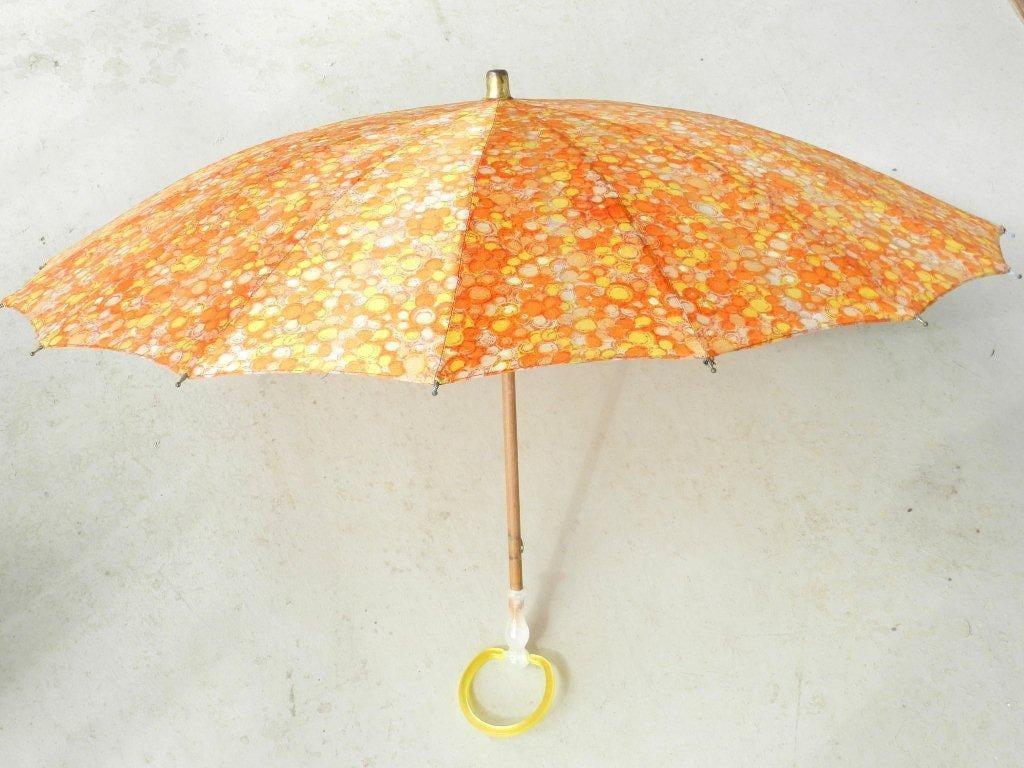 Vintage Antique Umbrella Parasol by H J Beautiful Orange