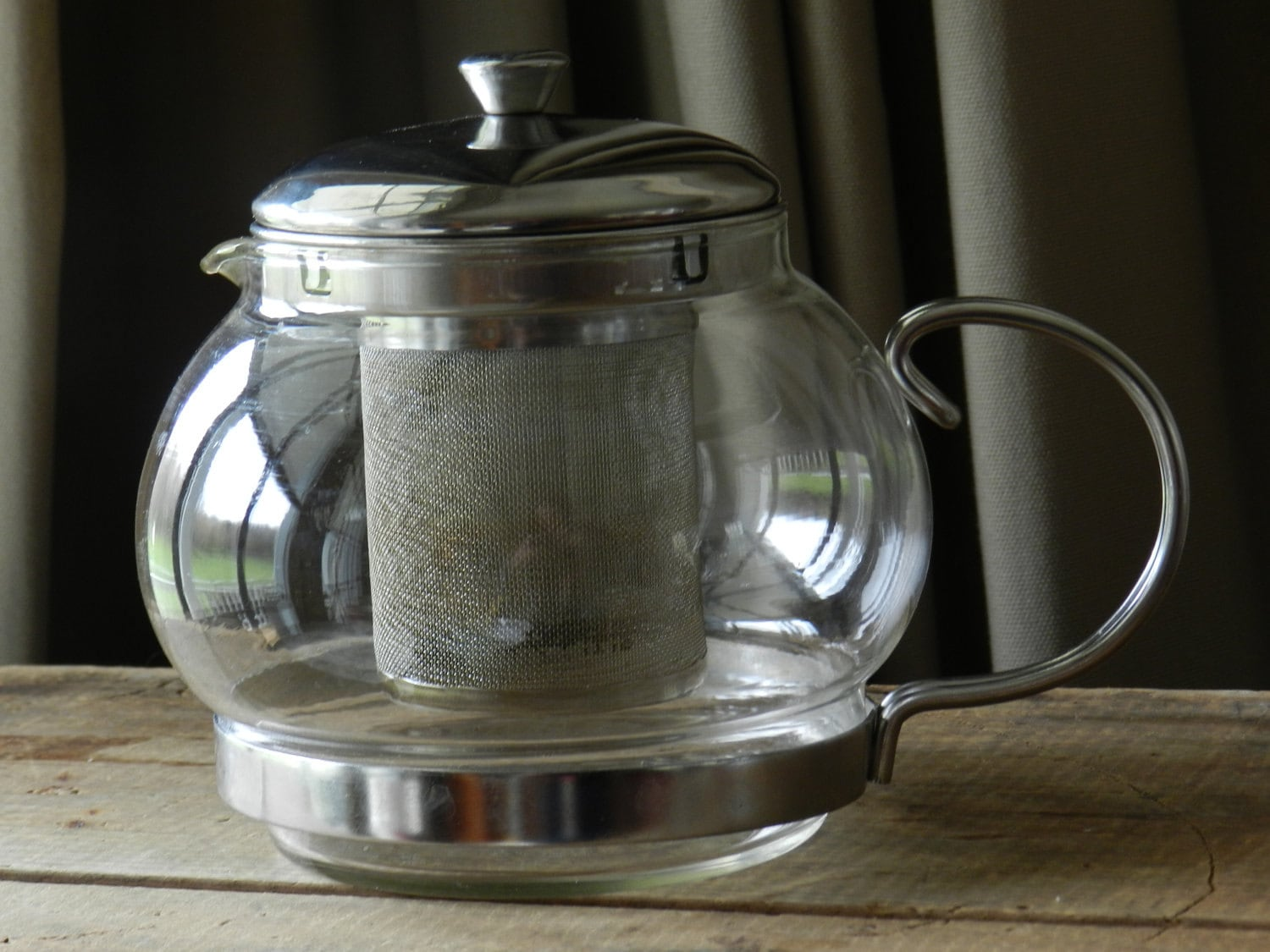 Vintage Clear Glass Teapot With Infuser By Thevintageshopkeeper