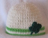 """MADE TO ORDER Crocheted """"Luck O' The Irish"""" St. Patrick's Day Baby Hat"""