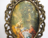 Antique Brass Frame Victorian Fabric Print MADE IN ITALY