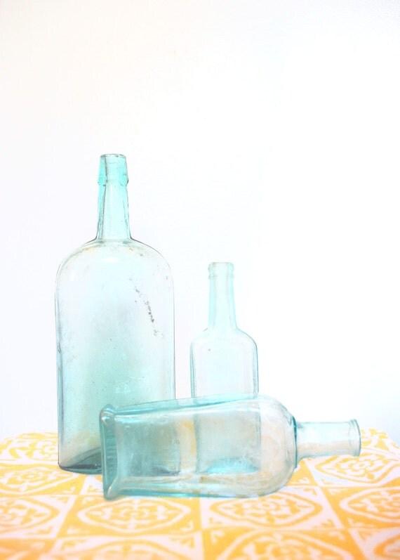 3 Vintage Jade Blue Bottle Lot