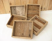 Small Tray Made From Reclaimed Lath Wood - 6 X 6&3/4 X 1.75 In.- Rustic, Rough, Unfinished