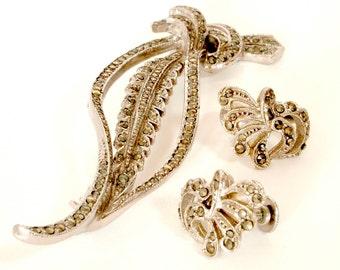 Vintage Marcasite Leaf Brooch and Earrings