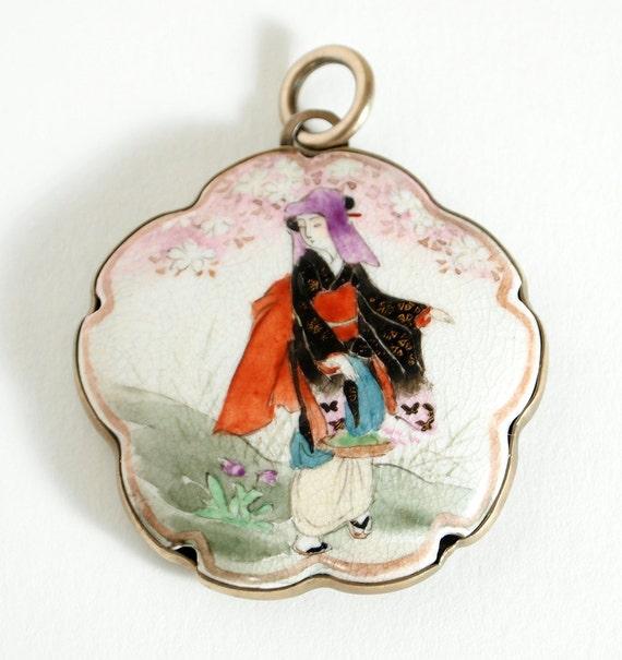 RESERVED for ANASTASIA Vintage Satsuma Ceramic Pendant with brass setting c.1910s