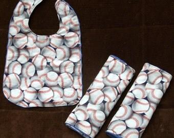 Baby boy gift set. Baseball. Two minky/baseball burp cloths with matching reversible bib.