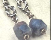 Roughed Up. Precious Raw Crystal Blue SAPPHIRE on Sterling Silver Knots