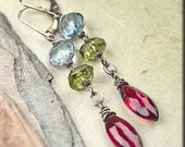 Gemstone Medley. Mozambique Wine Red GARNETS Swill Blue TOPAZ Arizona PERIDOT Earrings