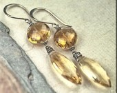 Golden Sunny Gemstone CITRINE Wire WRapped Specialty Cut Earrings