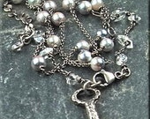 """Pick a Look.  Saltwater Pearls & Herkimer Diamond """"Y"""" Necklace.  Rosary, Wire Wrapped"""