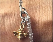 Bee-Dazzling. Crystal Wire Wrapped Bangle Bracelet with Golden Bee Charm