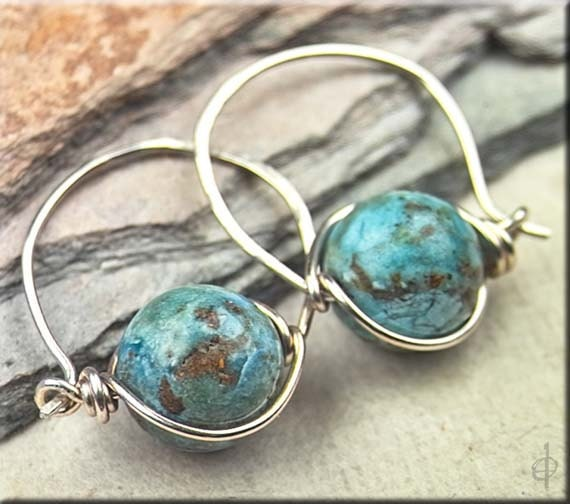 Robin's Egg Blue & Earthy Brown Matrix TURQUOISE on Sterling Silver Endless Hoops