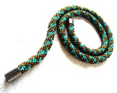Country&Western Bead Rope Necklace - Brown/Green Seed Bead Crochet Rope - Jewelry for Him - Tribal Beadwork in Natures Colours