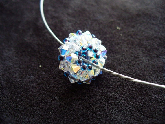 Beaded Bead / Beadwork Pendant in crystal and blue - Made in England