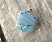 Fused Glass Pendant Wire Wrapped Serene