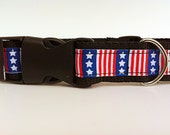 """The Independance - Dog Collar with Stars and Stripes - 1"""" width"""