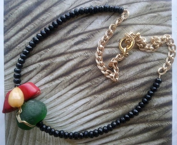 Red, Gold, Green and Black Beaded Necklace