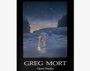 Poster by Greg Mort Limited Edition Fine Art Poster FALLEN STAR  of Child Discovering Beach Treasures