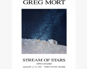 Poster Stream of Stars highlights Greg Mort's love of astronomy, nature, shells and telescopes.