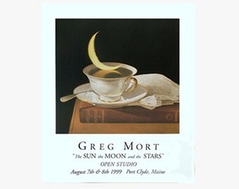 """Poster of Vintage Lace Moon in Tea Cup """"Sun Moon and Stars"""" by Greg Mort"""