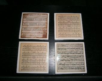 Vintage Music Sheet  Coasters (Set of 4)