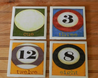 Billiards Ceramic Coasters (Set of 4)