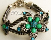 Emerald Starburst Chainmail Bracelet - Brilliant Emerald Green, Teal And Turquoise Flower Components Set on Flexible Mesh Material